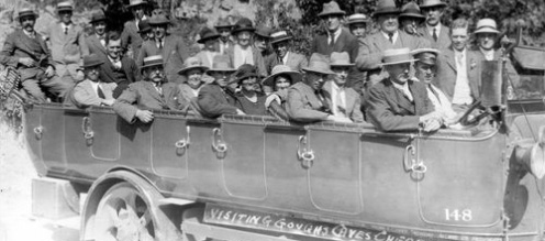 Shows Thornbury Baptist Church charabanc outing to Cheddar Caves